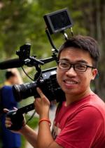 Documentarian Hao Zhang filming on location.